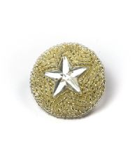 Large Hand Silver Beaded Star Button in 2 Sizes
